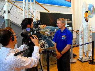 ESA astronaut Thomas Reiter is interviewed during the Astrolab post-flight tour