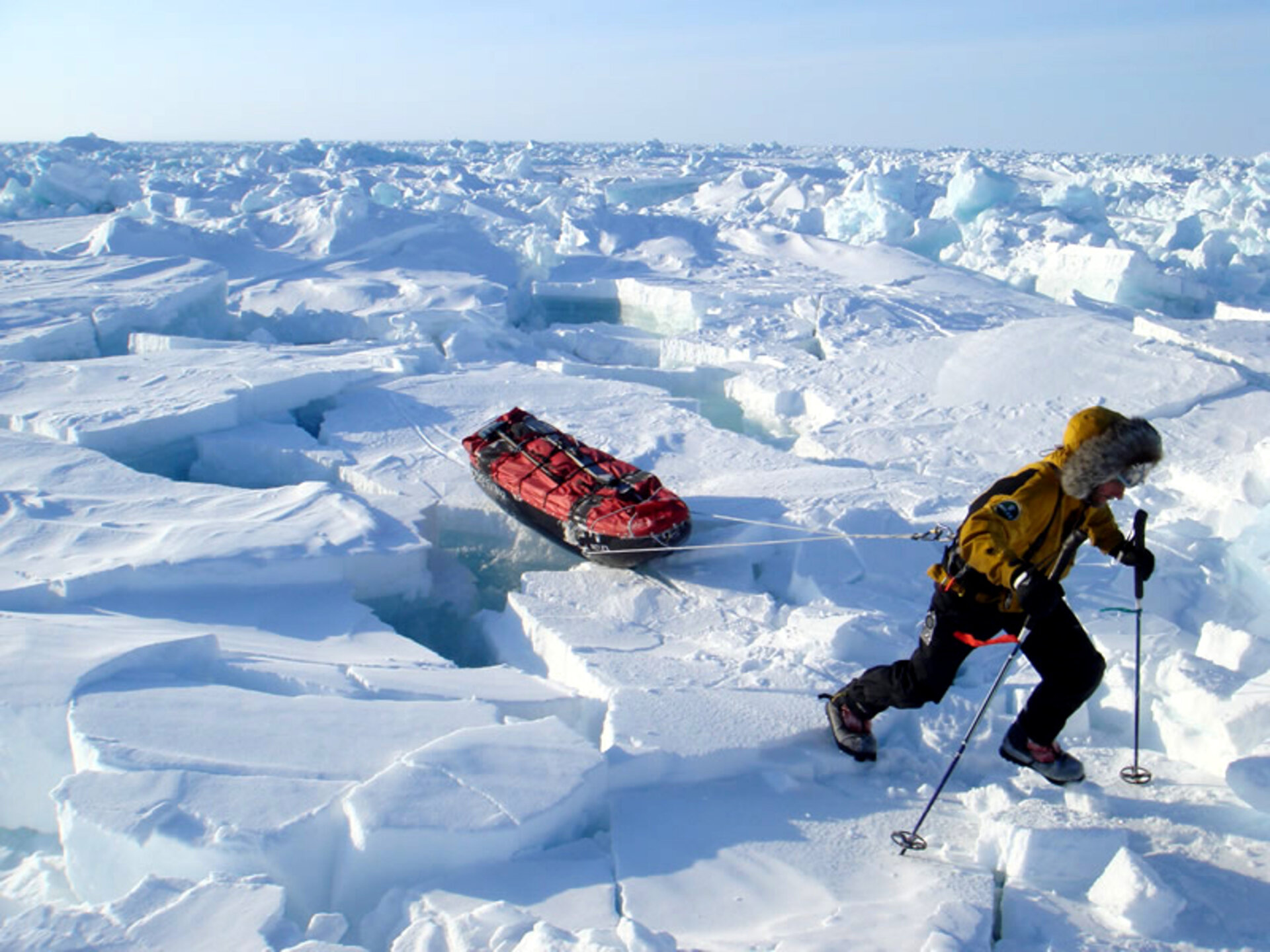 Struggling over rough sea-ice during the Arctic Arc expedition