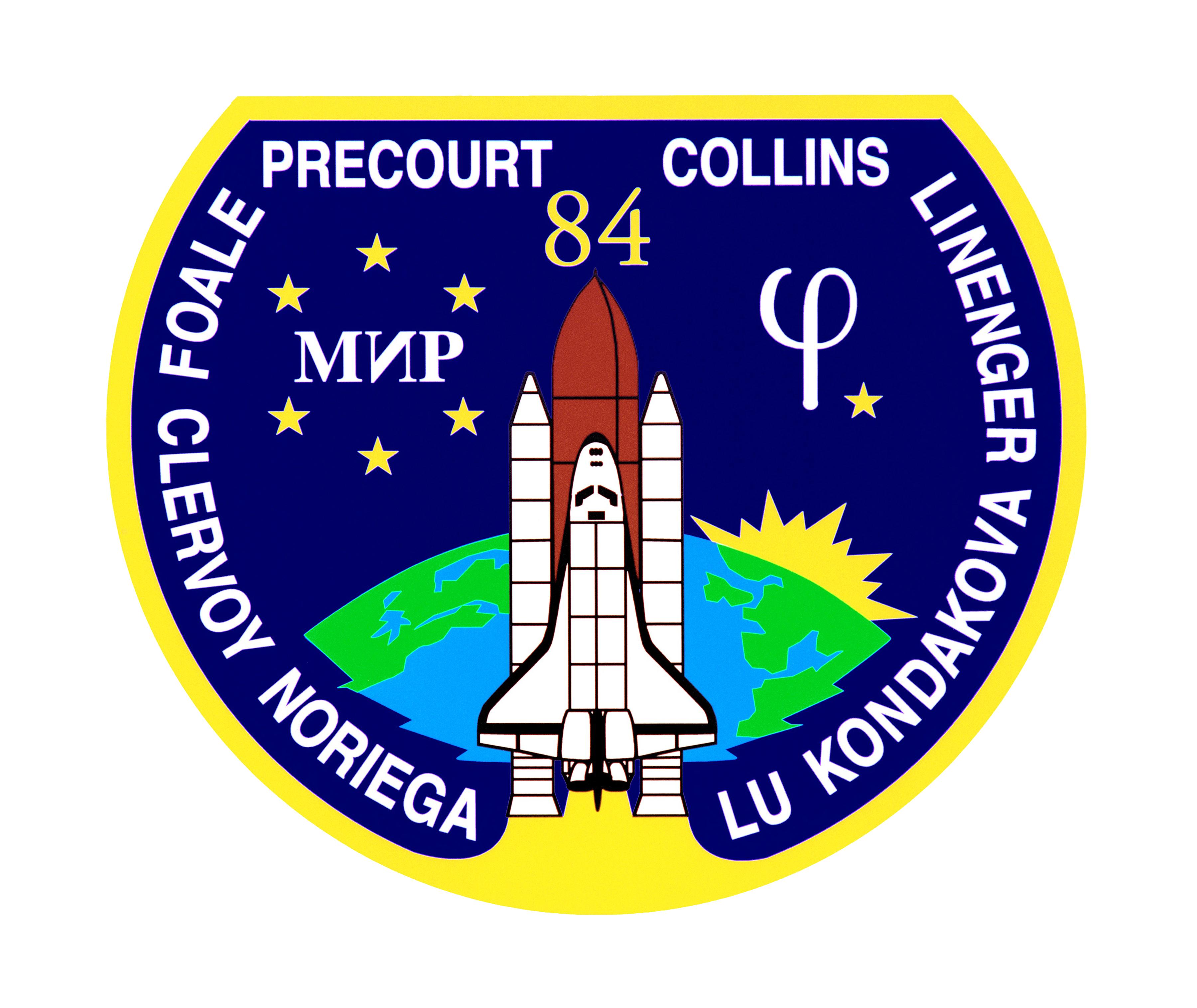 Authentic NASA Patch for STS-84 Space Shuttle Atlantis /& Sticker w//description