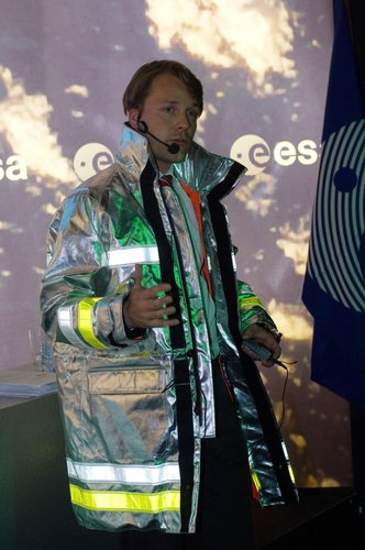 The protective clothing Hydro*jacket presented at the ESA pavilion by ESA's Technology Transfer Programme Office