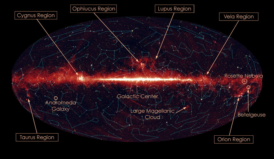 All-sky map in infrared light with constellations and star forming regions