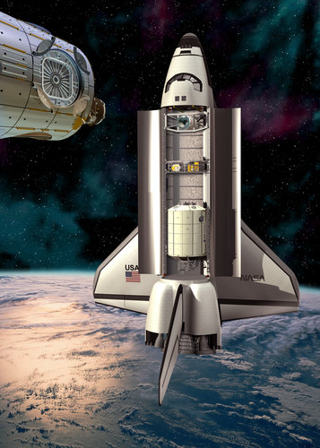 Artist's impression of the Space Shuttle docking with the European-developed Node 2 on ISS assembly flight 1E with Columbus