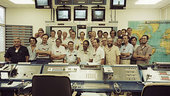 Control room personnel at ECS-1 launch