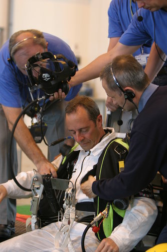 ESA astronaut Jean-François Clervoy prepares to take part in the underwater trials with Eurobot