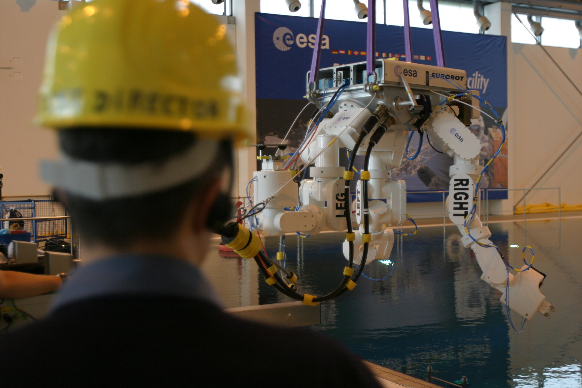 Eurobot is lowered into the water at EAC's Neutral Buoyancy Facility