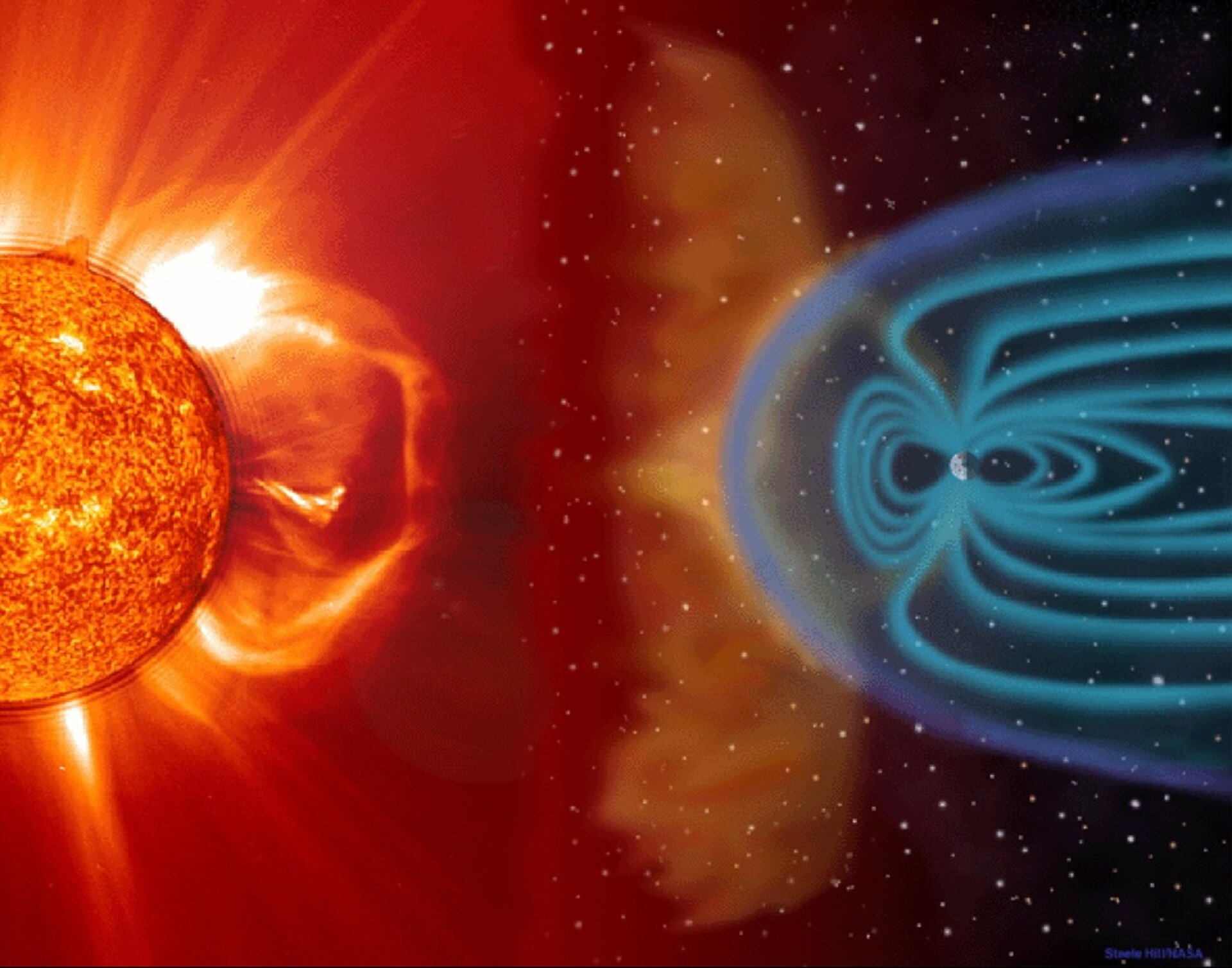 Earth's magnetic field protects us from the Sun's radiation, but astronauts travelling in space are more exposed.