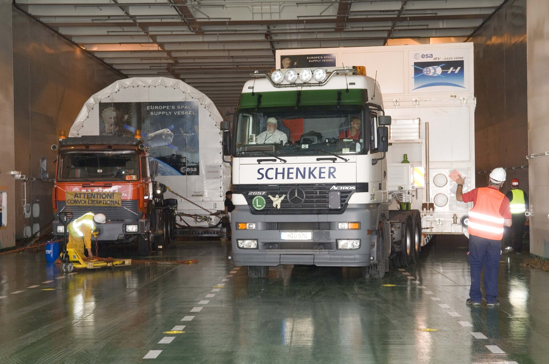 The trucks are parked up and secured ahead of the Atlantic crossing to Kourou
