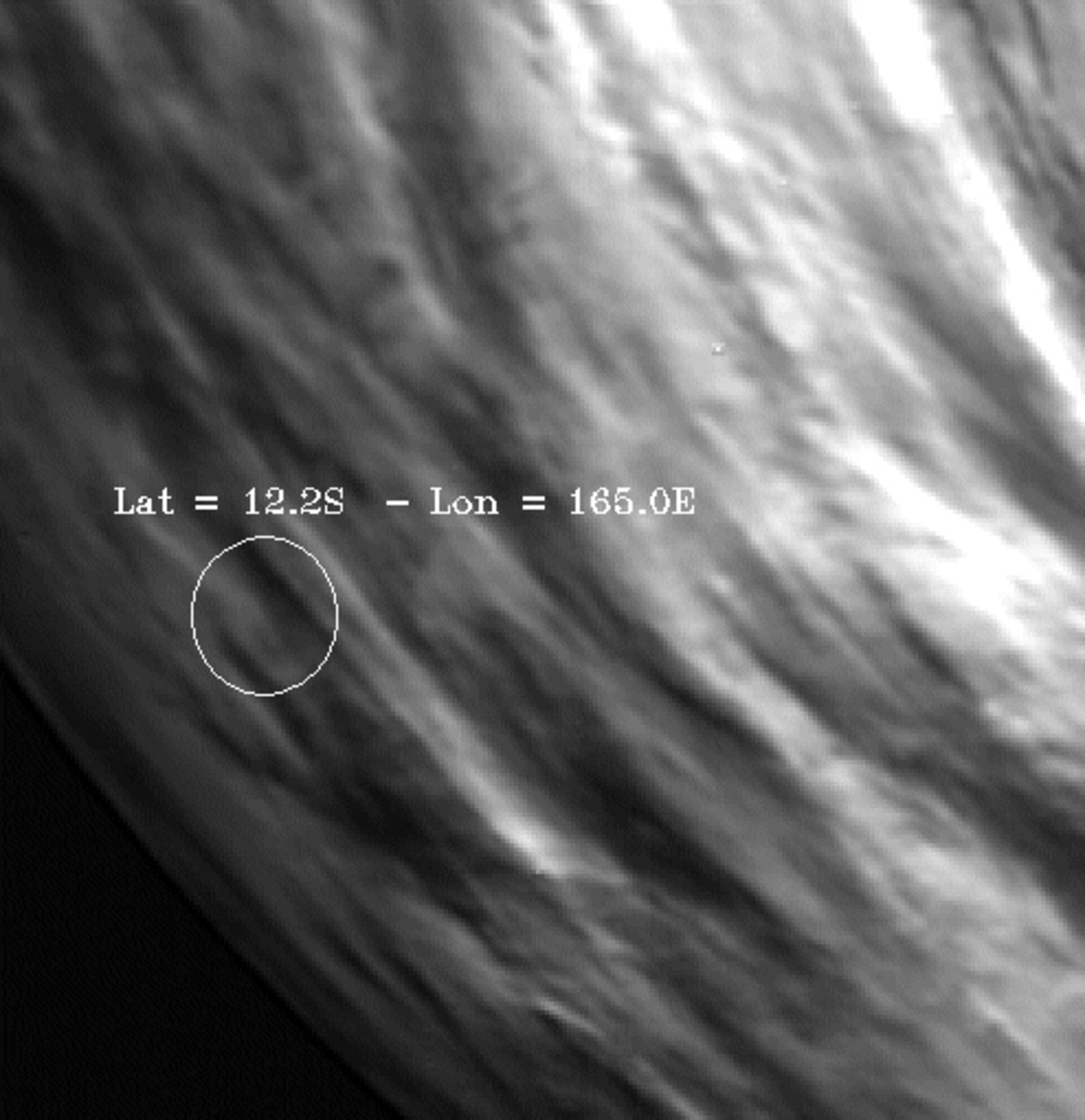 VIRTIS image of the area over flown by MESSENGER