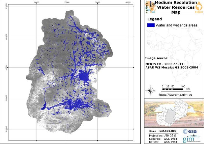 Water resources map of Zambia