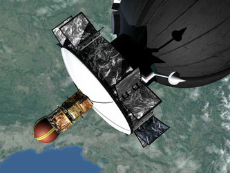 An artist's impression of YES2 attached to Foton in orbit