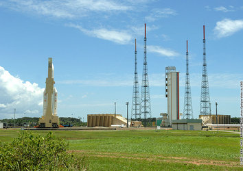 Ariane 5 ECA V177 being transferred to launch pad