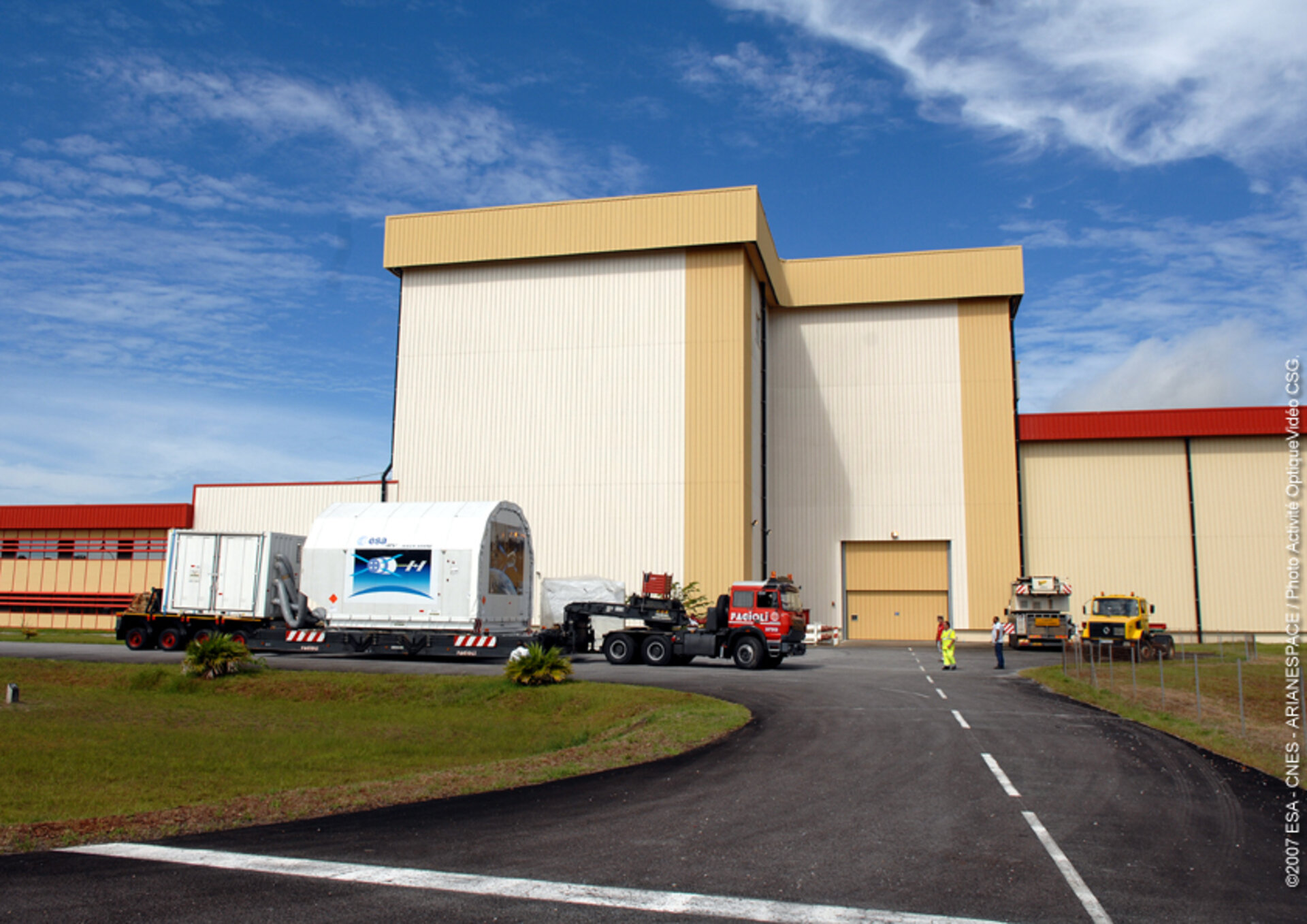ATV arrives at the S5 building at Europe's Spaceport in Kourou, French Guiana