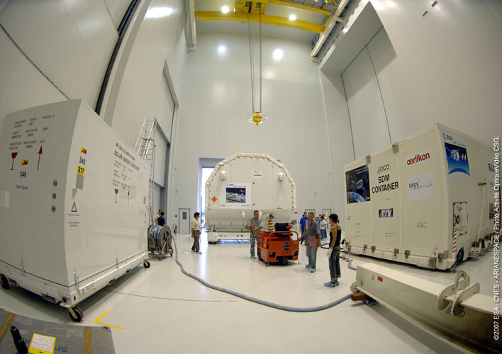 ATV transportation containers inside the S5 building at Europe's Spaceport in Kourou