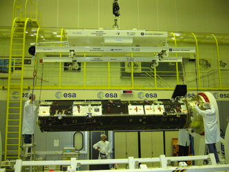 GOCE being installed in the clean room