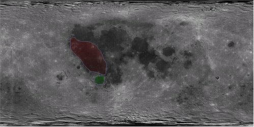 Mare Humorum (green) and Oceanus Procellarum (red)