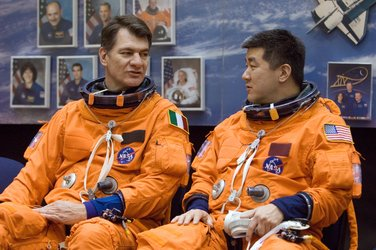 Paolo Nespoli and Daniel Tani await start of a training session at JSC