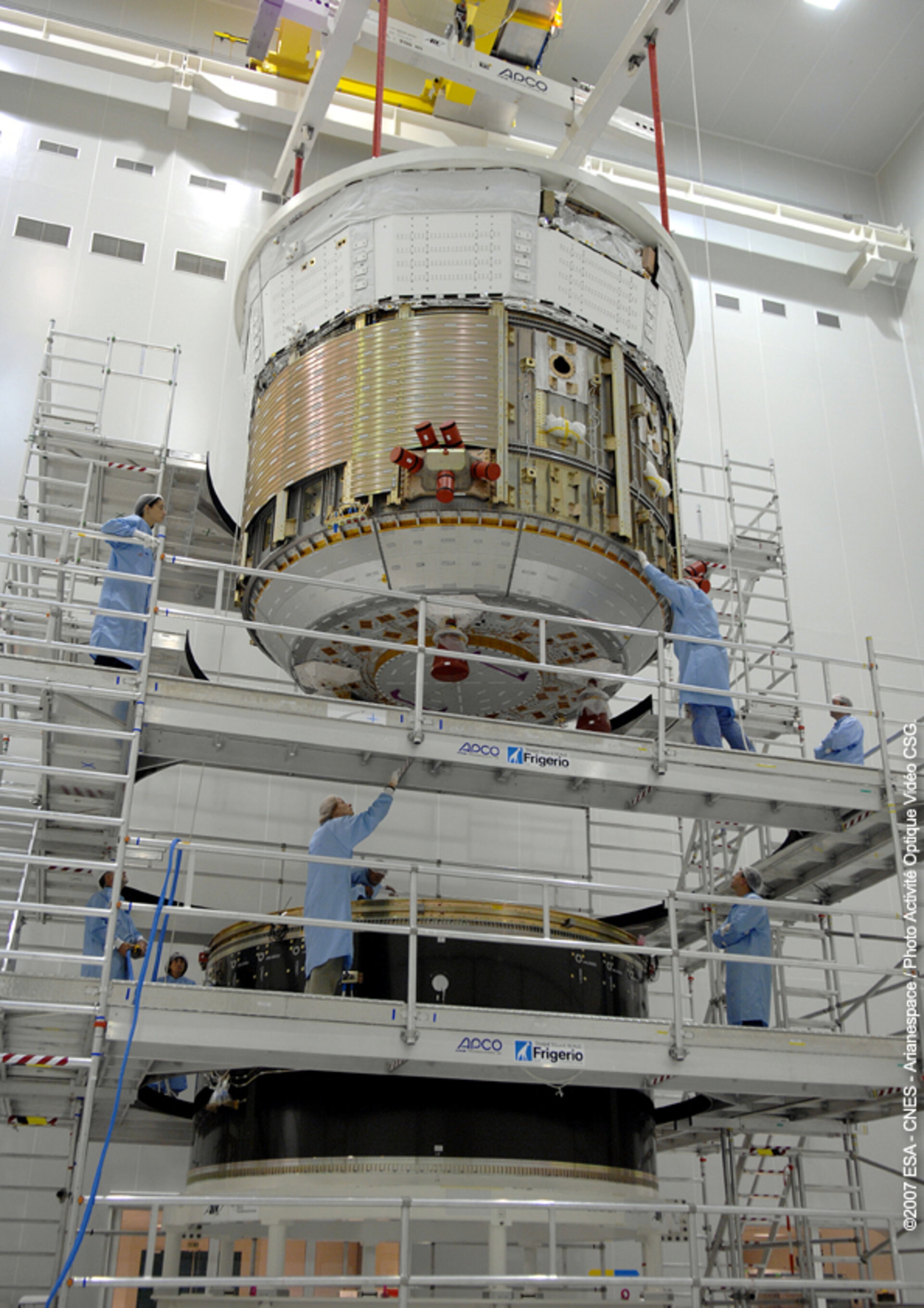 Sections of the ATV spacecraft are re-integrated following arrival at Europe's Spaceport, in Kourou