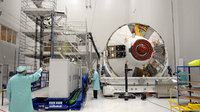 Technicians work on ATV in Kourou