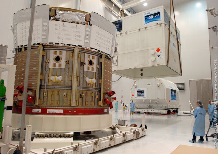 Unpacking ATV at the Spaceport in Kourou