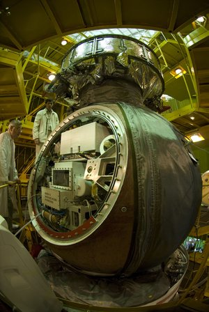 Preparation of the Foton-M3 spacecraft at Baikonur Cosmodrome