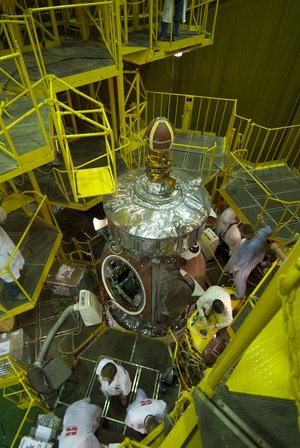 Preparation of the Foton-M3 spacecraft in the MIK Building at Baikonur Cosmodrome
