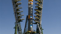 Soyuz launch vehicle on the launch pad