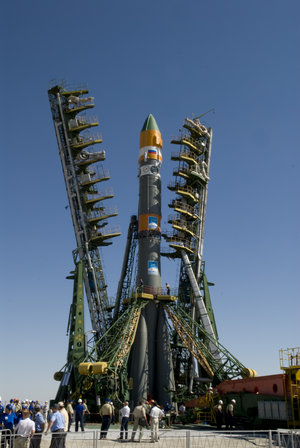 Soyuz-U launch vehicle on the launch pad at Baikonur Cosmodrome