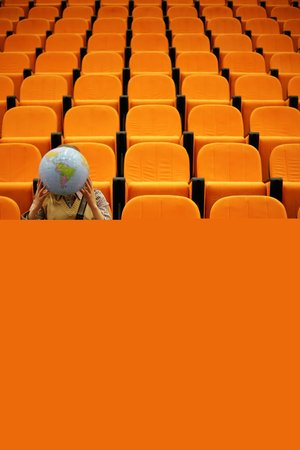 Woman in lecture theatre