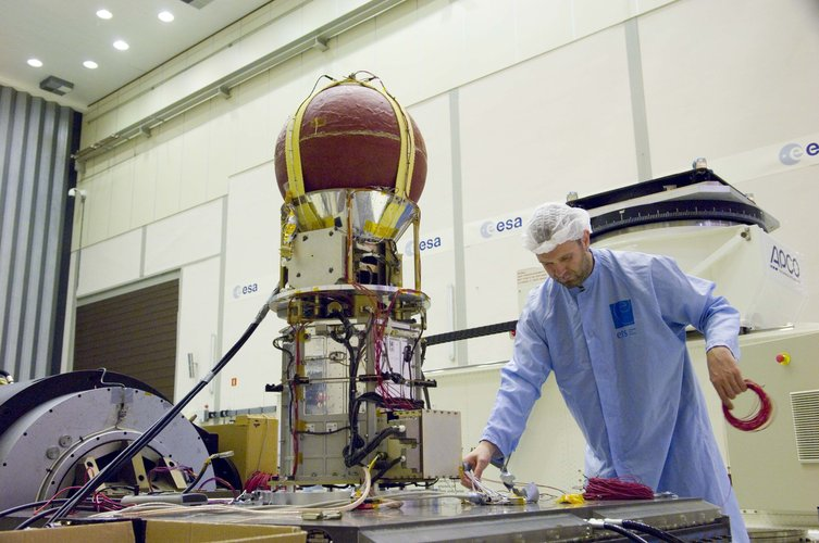 YES2 satellite being prepared for the Shaker test