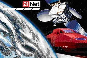 21Net, Earth, train and satellite