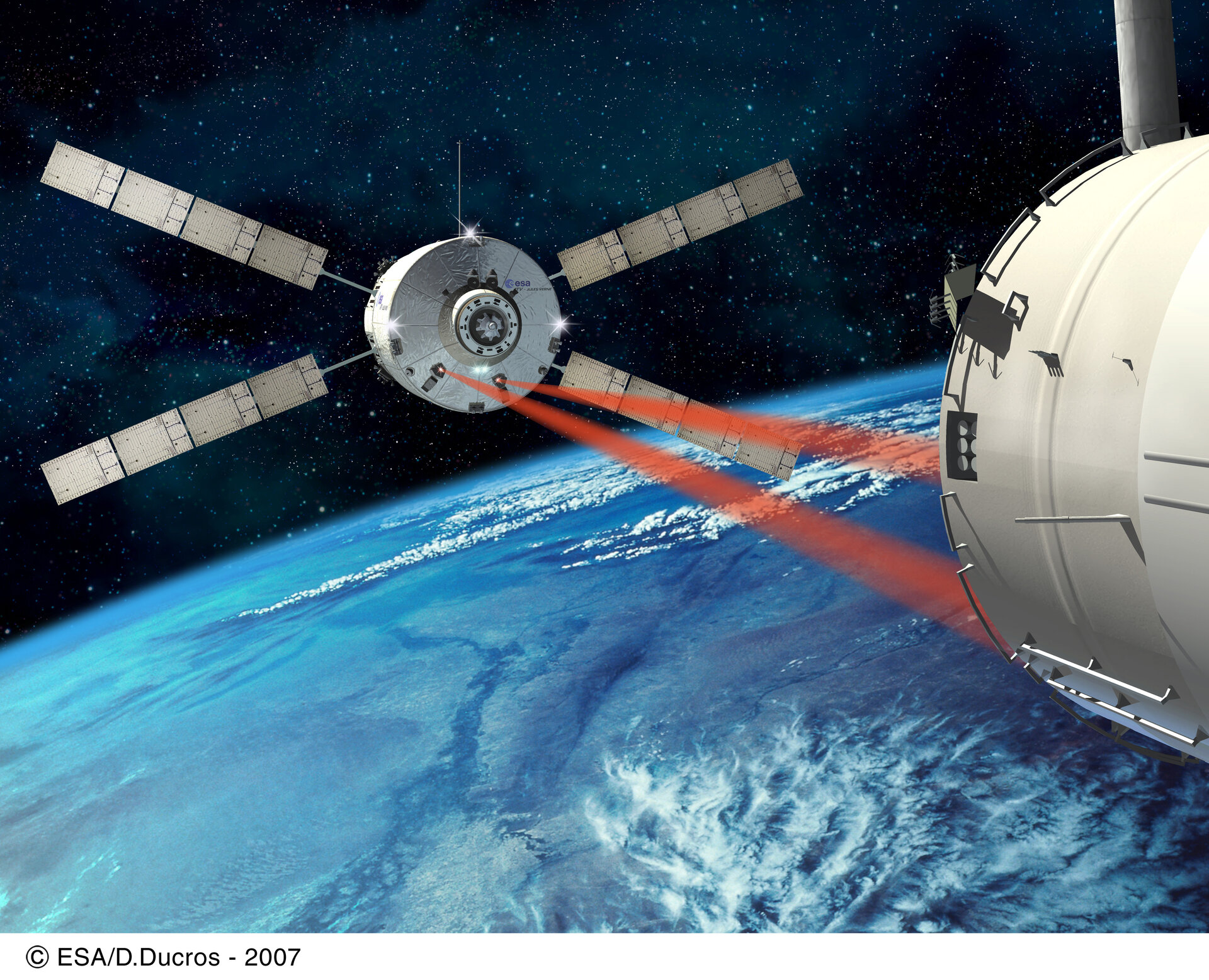 Artist's impression of ATV approaching the ISS for a fully automated docking