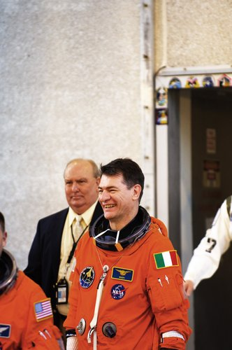 ESA astronaut Paolo Nespoli during the practice countdown for Space Shuttle flight STS-120