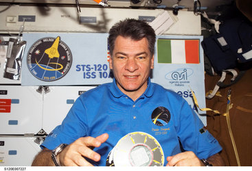 ESA astronaut Paolo Nespoli during the STS-120 mission