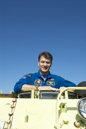 ESA astronaut Paolo Nespoli during training with M-113 armoured personel carrier at KSC