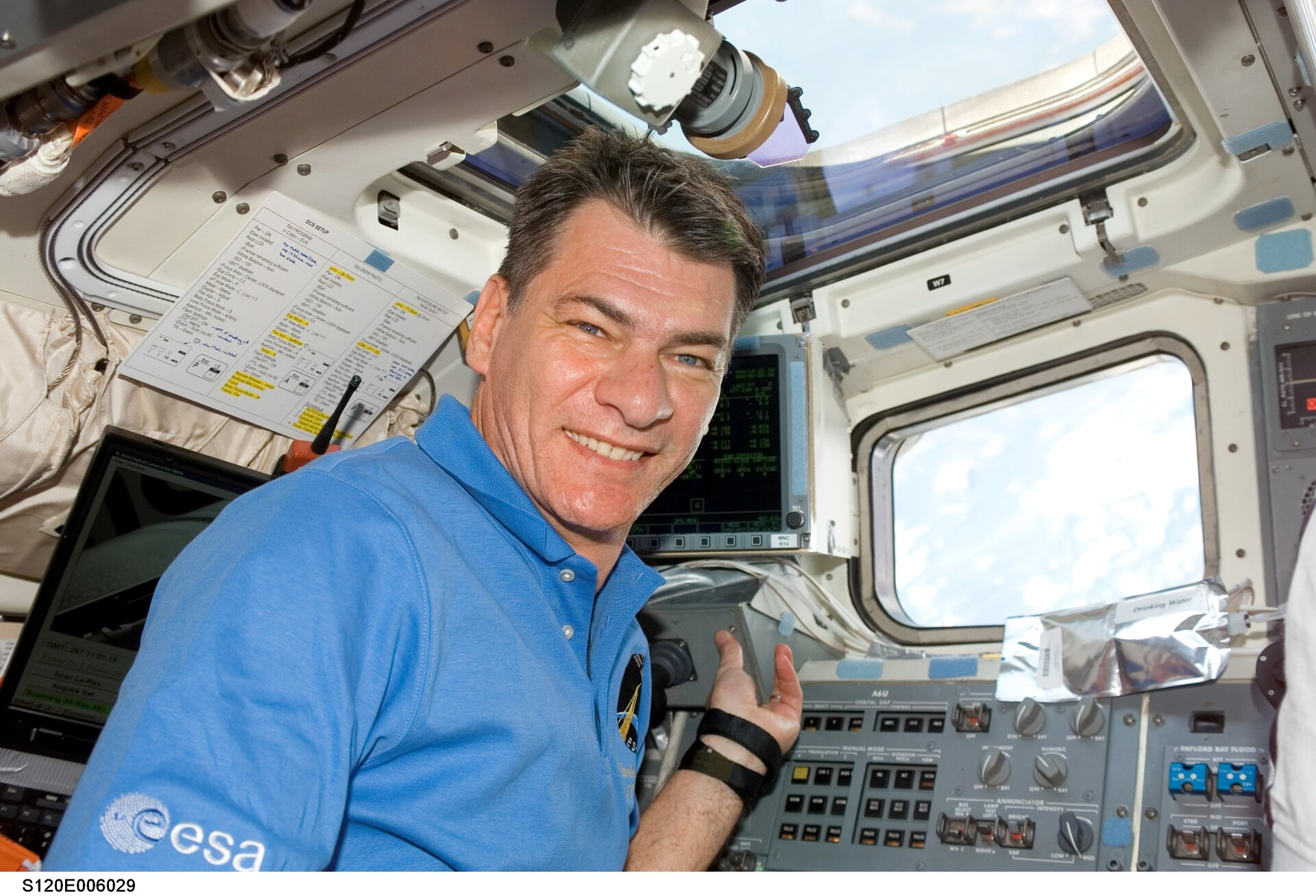 ESA astronaut Paolo Nespoli on board Discovery during Esperia Mission
