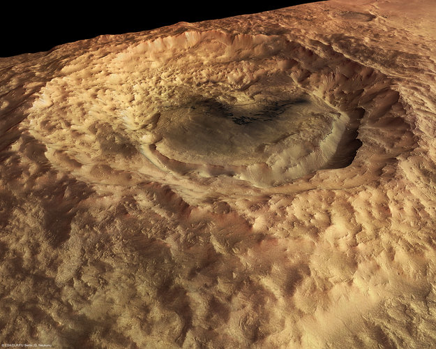 Maunder Crater, perspective view