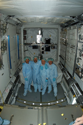 Members of the Columbus project team inside the European laboratory