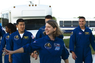 Members of the STS-120 crew prepare to meet the press during the Terminal Countdown Demonstration Test at KSC