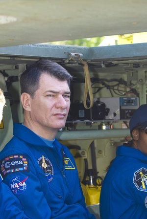 Paolo Nespoli during M-113 armoured personel carrier training at KSC