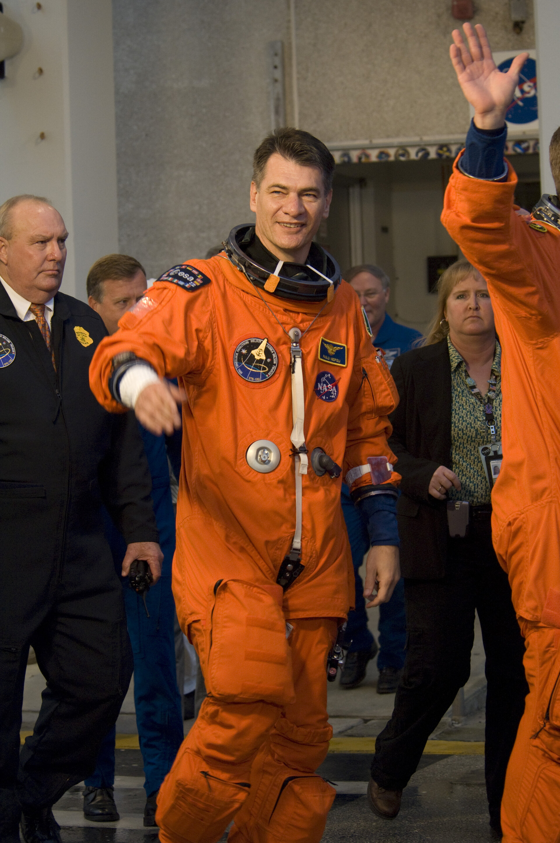 Paolo Nespoli during STS-120 mission crew walkout