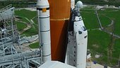 Space Shuttle Discovery arrives at Launch Pad 39A