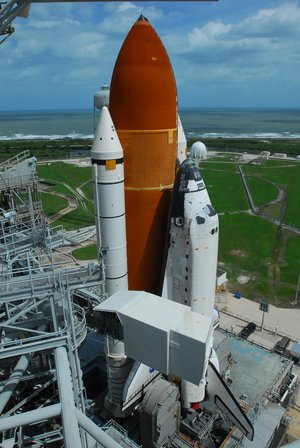 Space Shuttle Discovery arrives at Launch Pad 39A ahead of STS-120 mission
