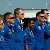 STS-120 crew arrive at KSC