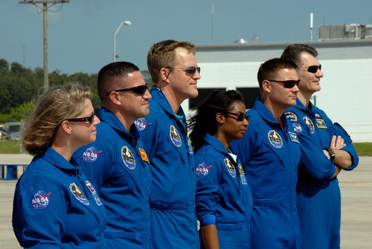 STS-120 crew arrive at Kennedy Space Center, Florida, ahead of the launch