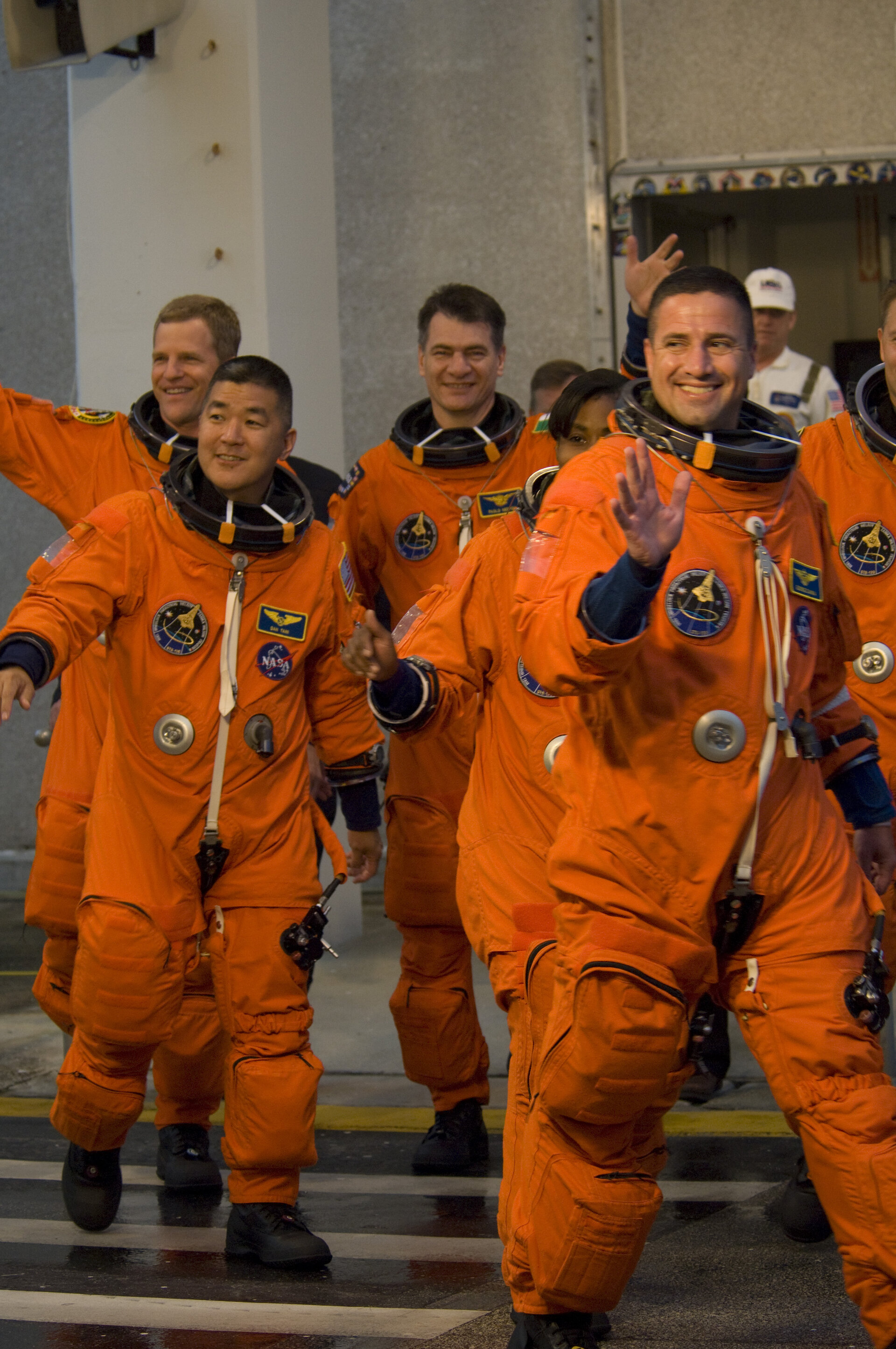 STS-120 mission crew walkout