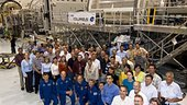 STS-122 crewmembers and team with Columbus