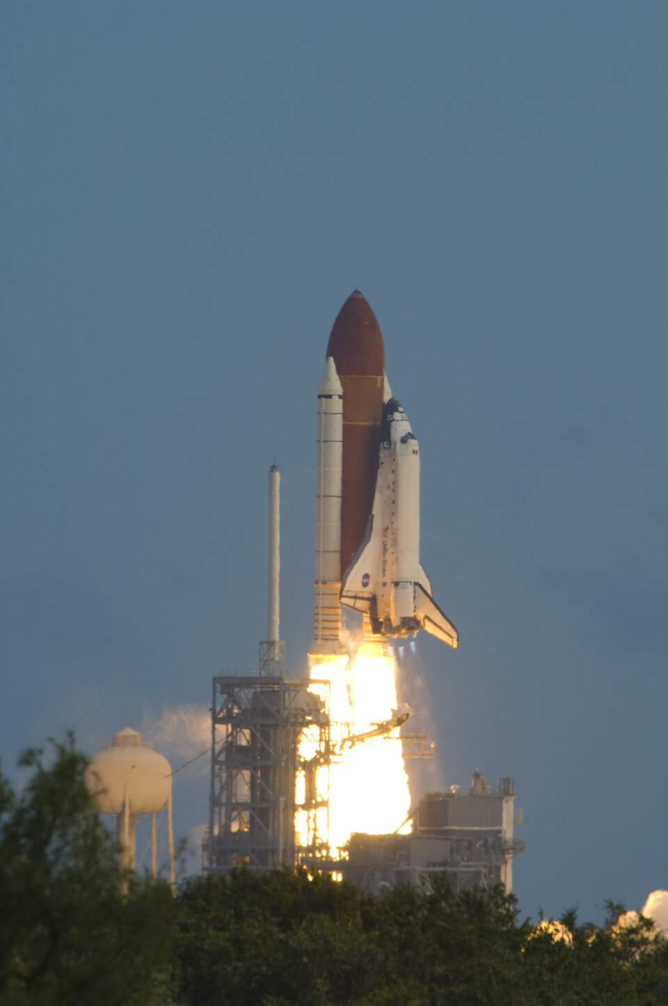 Lift off! Poalo flew on the Space Shuttle Discovery on his first mission