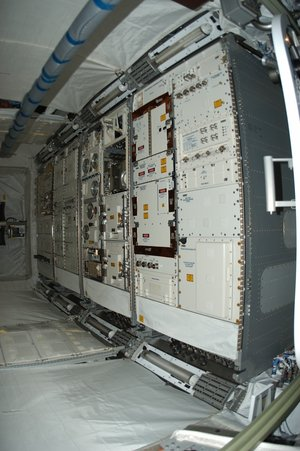 The experiment racks are in place inside the European Columbus laboratory