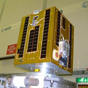 The SSETI Express Cubesat during its centre of mass measurement