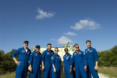 The STS-120 crew during training with the M-113 armoured personel carrier at KSC